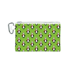 Christmas Penguin Penguins Cute Canvas Cosmetic Bag (S)