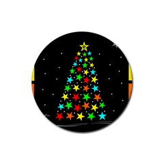 Christmas Time Rubber Round Coaster (4 pack)