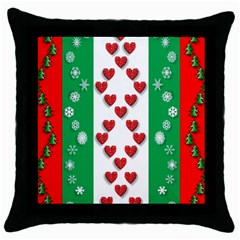 Christmas Snowflakes Christmas Trees Throw Pillow Case (Black)
