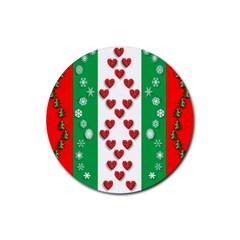 Christmas Snowflakes Christmas Trees Rubber Coaster (Round)