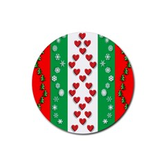 Christmas Snowflakes Christmas Trees Rubber Round Coaster (4 pack)
