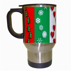 Christmas Snowflakes Christmas Trees Travel Mugs (White)