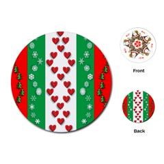 Christmas Snowflakes Christmas Trees Playing Cards (Round)