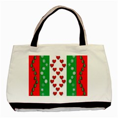 Christmas Snowflakes Christmas Trees Basic Tote Bag