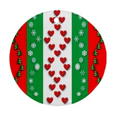 Christmas Snowflakes Christmas Trees Round Ornament (Two Sides)