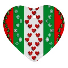 Christmas Snowflakes Christmas Trees Heart Ornament (Two Sides)
