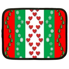Christmas Snowflakes Christmas Trees Netbook Case (large)