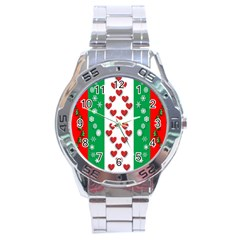 Christmas Snowflakes Christmas Trees Stainless Steel Analogue Watch