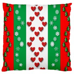 Christmas Snowflakes Christmas Trees Large Cushion Case (One Side)