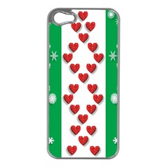 Christmas Snowflakes Christmas Trees Apple iPhone 5 Case (Silver)