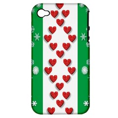Christmas Snowflakes Christmas Trees Apple iPhone 4/4S Hardshell Case (PC+Silicone)