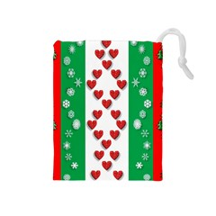 Christmas Snowflakes Christmas Trees Drawstring Pouches (Medium)