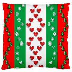 Christmas Snowflakes Christmas Trees Large Flano Cushion Case (Two Sides)