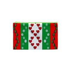 Christmas Snowflakes Christmas Trees Cosmetic Bag (XS)