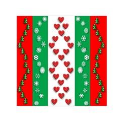 Christmas Snowflakes Christmas Trees Small Satin Scarf (Square)