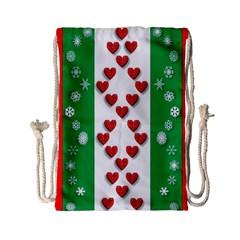 Christmas Snowflakes Christmas Trees Drawstring Bag (Small)