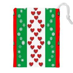 Christmas Snowflakes Christmas Trees Drawstring Pouches (XXL)