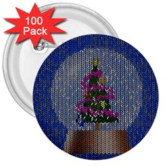 Christmas Snow 3  Buttons (100 pack)