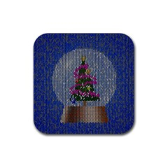 Christmas Snow Rubber Square Coaster (4 pack)