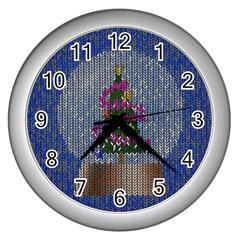 Christmas Snow Wall Clocks (Silver)