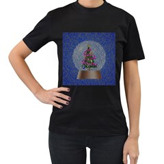 Christmas Snow Women s T Shirt (black) (two Sided)
