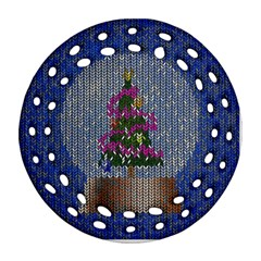 Christmas Snow Round Filigree Ornament (Two Sides)