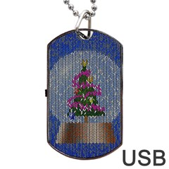 Christmas Snow Dog Tag USB Flash (One Side)