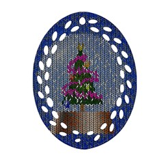 Christmas Snow Oval Filigree Ornament (Two Sides)