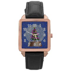 Christmas Snow Rose Gold Leather Watch