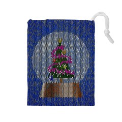 Christmas Snow Drawstring Pouches (large)