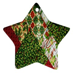 Christmas Quilt Background Ornament (Star)