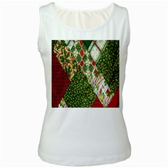 Christmas Quilt Background Women s White Tank Top