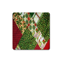 Christmas Quilt Background Square Magnet