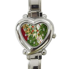 Christmas Quilt Background Heart Italian Charm Watch