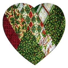 Christmas Quilt Background Jigsaw Puzzle (heart)
