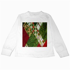 Christmas Quilt Background Kids Long Sleeve T-Shirts