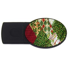 Christmas Quilt Background USB Flash Drive Oval (4 GB)