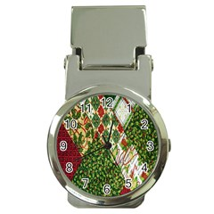 Christmas Quilt Background Money Clip Watches