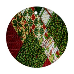 Christmas Quilt Background Round Ornament (Two Sides)