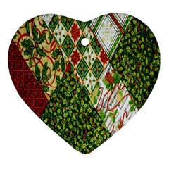 Christmas Quilt Background Heart Ornament (Two Sides)