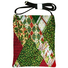 Christmas Quilt Background Shoulder Sling Bags