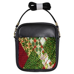 Christmas Quilt Background Girls Sling Bags