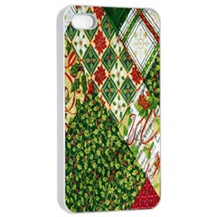 Christmas Quilt Background Apple iPhone 4/4s Seamless Case (White)