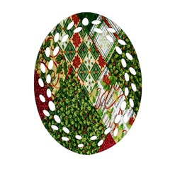 Christmas Quilt Background Oval Filigree Ornament (Two Sides)