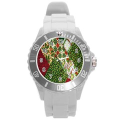 Christmas Quilt Background Round Plastic Sport Watch (l)