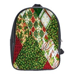 Christmas Quilt Background School Bags (xl)