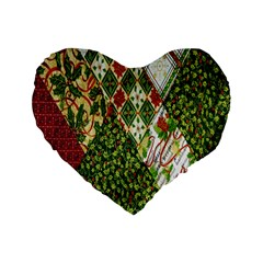 Christmas Quilt Background Standard 16  Premium Heart Shape Cushions