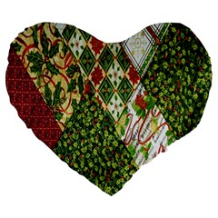 Christmas Quilt Background Large 19  Premium Heart Shape Cushions