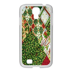 Christmas Quilt Background Samsung GALAXY S4 I9500/ I9505 Case (White)