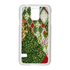Christmas Quilt Background Samsung Galaxy S5 Case (White)